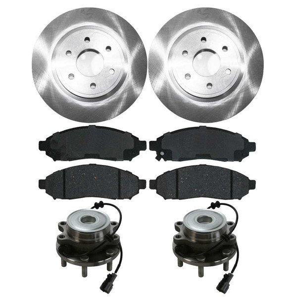 [Front Set] 2 Brake Rotors & 1 Set Ceramic Brake Pads & 2 Wheel Hub Bearing Assemblies - Part # RHBBK0055