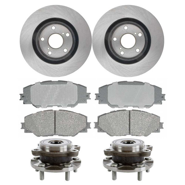 [Front Set] 2 Brake Rotors & 1 Set Ceramic Brake Pads & 2 Wheel Hub Bearing Assemblies - Part # RHBBK0060
