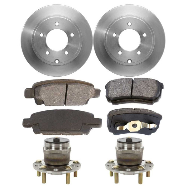 Set of New Rear Brake Rotors Ceramic Pads and Hub Bearing Assemblies - Part # RHBBK0106