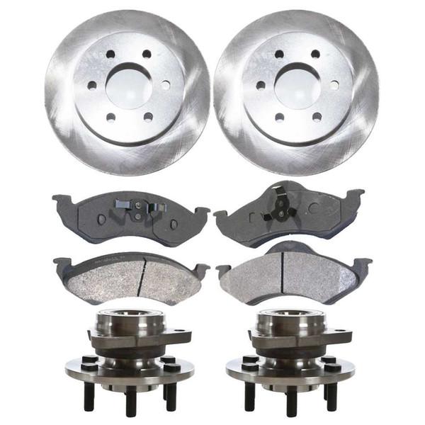 [Front Set] 2 Brake Rotors & 1 Set Ceramic Brake Pads & 2 Wheel Hub Bearing Assemblies - Part # RHBBK0130