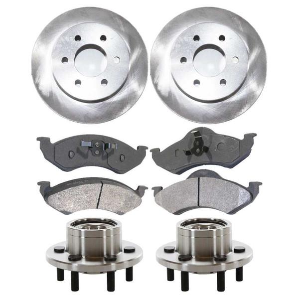 [Front Set] 2 Brake Rotors & 1 Set Ceramic Brake Pads & 2 Wheel Hub Bearing Assemblies - Part # RHBBK0132