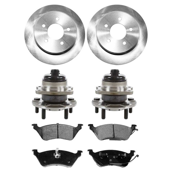 [Rear Set] 2 Brake Rotors & 1 Set Ceramic Brake Pads & 2 Wheel Hub Bearing Assemblies - Part # RHBBK0139