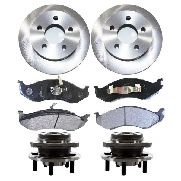 Set of New Front Brake Rotors Ceramic Pads and Hub Bearing Assemblies - Part # RHBBK0147