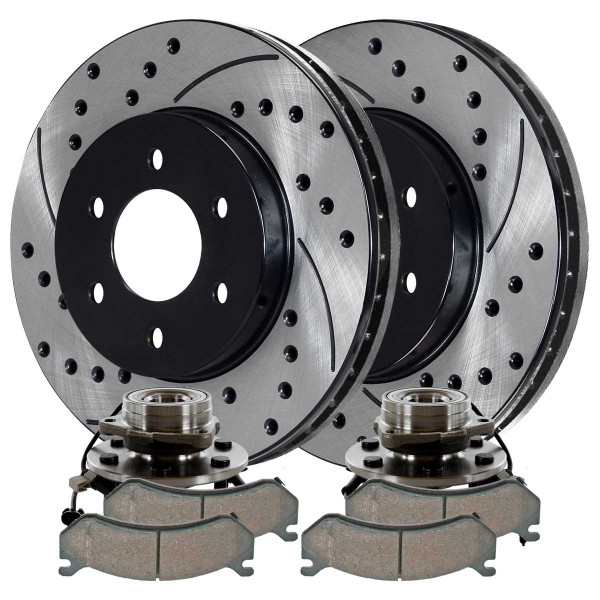[Rear Set] 2 Brake Rotors & 1 Set Ceramic Brake Pads & 2 Wheel Hub Bearing Assemblies - Part # RHBBK0152
