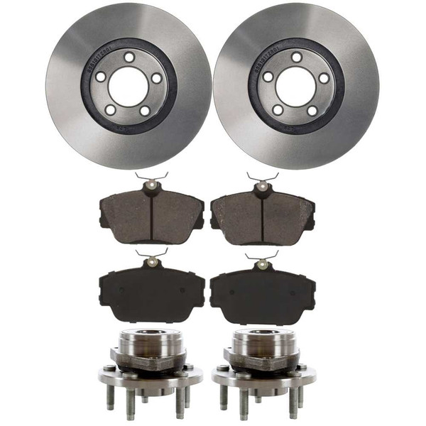 [Front Set] 2 Brake Rotors & 1 Set Ceramic Brake Pads & 2 Wheel Hub Bearing Assemblies - Part # RHBBK0156