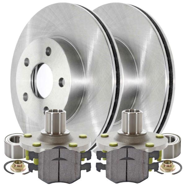 [Front Set] 2 Brake Rotors & 1 Set Ceramic Brake Pads & 2 Wheel Hub Bearing Assemblies - Part # RHBBK0163