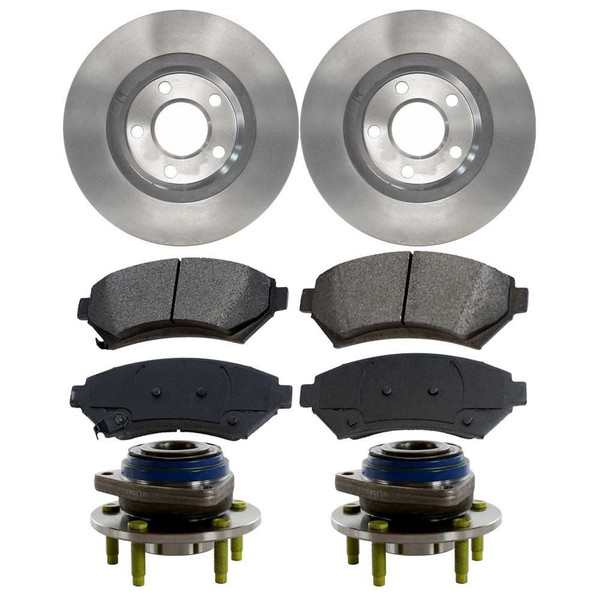 [Front Set] 2 Brake Rotors & 1 Set Ceramic Brake Pads & 2 Wheel Hub Bearing Assemblies - Part # RHBBK0187