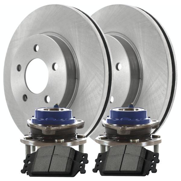 [Front Set] 2 Brake Rotors & 1 Set Ceramic Brake Pads & 2 Wheel Hub Bearing Assemblies - Part # RHBBK0196