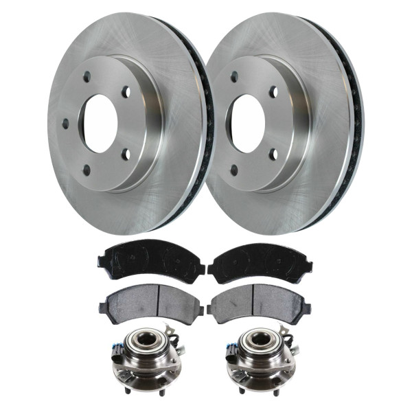 Set of New Front Brake Rotors Ceramic Pads and Hub Bearing Assemblies - Part # RHBBK0200