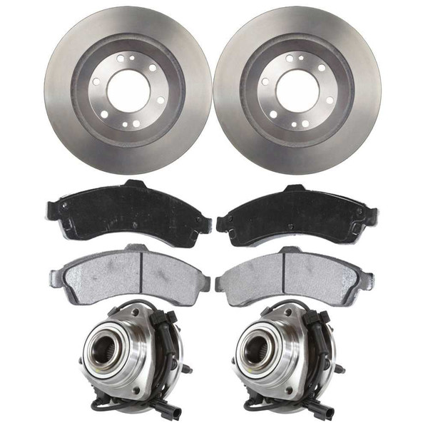 [Front Set] 2 Brake Rotors & 1 Set Ceramic Brake Pads & 2 Wheel Hub Bearing Assemblies - Part # RHBBK0210