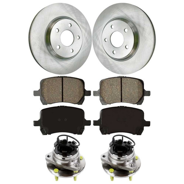 [Front Set] 2 Brake Rotors & 1 Set Ceramic Brake Pads & 2 Wheel Hub Bearing Assemblies - Part # RHBBK0232