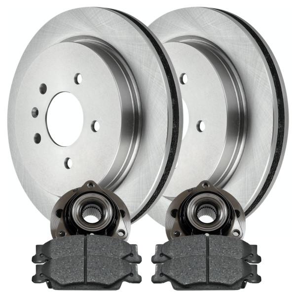 [Rear Set] 2 Brake Rotors & 1 Set Ceramic Brake Pads & 2 Wheel Hub Bearing Assemblies - Part # RHBBK0238
