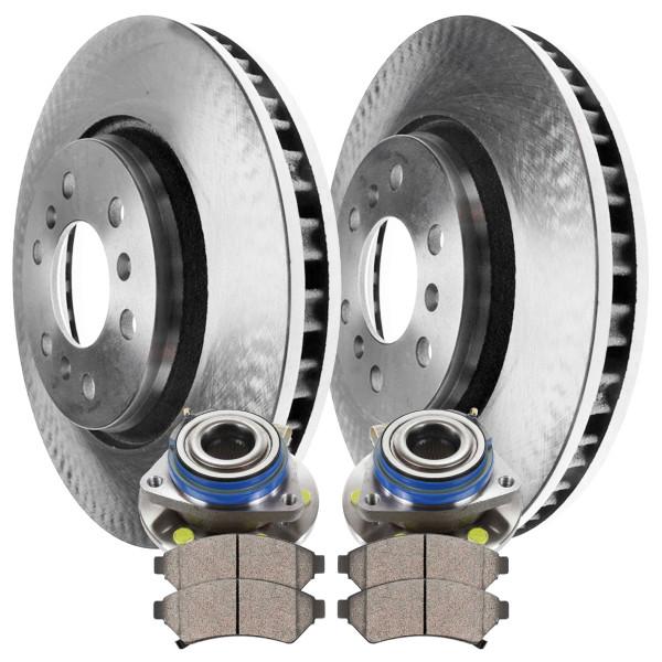[Front Set] 2 Brake Rotors & 1 Set Ceramic Brake Pads & 2 Wheel Hub Bearing Assemblies - Part # RHBBK0244