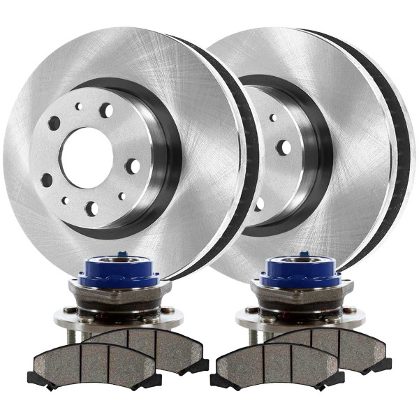 Front Wheel Hub Bearing Assembly Ceramic Brake Pad Rotor Bundle 4 Wheel ABS - Part # RHBBK0250