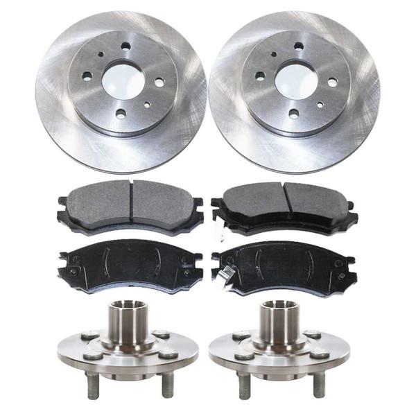 [Front Set] 2 Brake Rotors & 1 Set Ceramic Brake Pads & 2 Wheel Hub Bearing Assemblies - Part # RHBBK0267