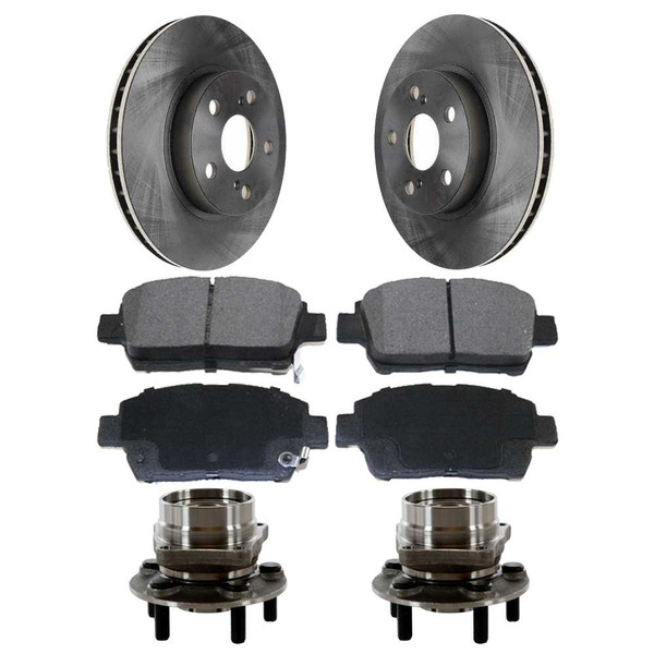 [Front Set] 2 Brake Rotors & 1 Set Ceramic Brake Pads & 2 Wheel Hub Bearing Assemblies - Part # RHBBK0308