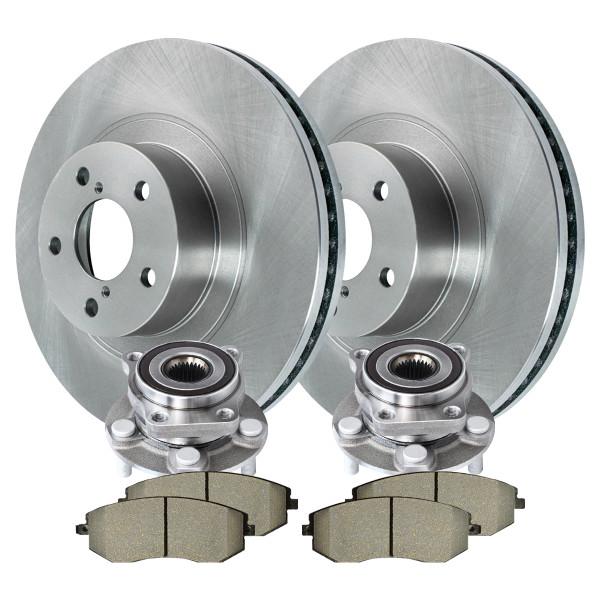 [Front Set] 2 Brake Rotors & 1 Set Ceramic Brake Pads & 2 Wheel Hub Bearing Assemblies - Part # RHBBK0317