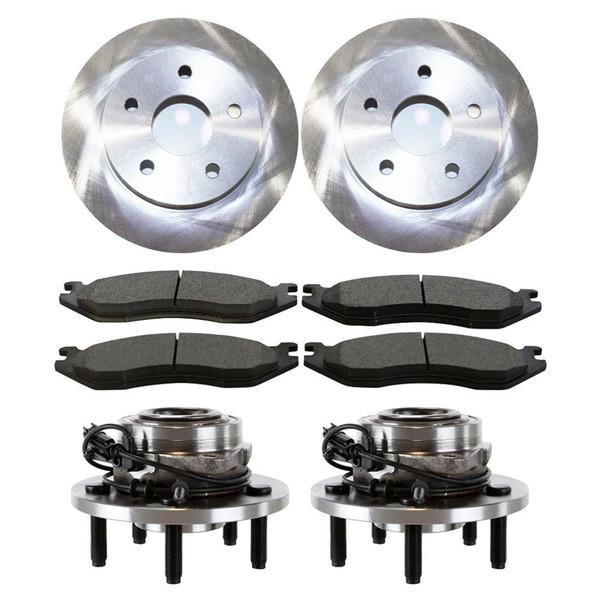Set of New Front Brake Rotors Ceramic Pads and Hub Bearing Assemblies - Part # RHBBK0400