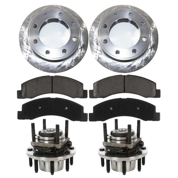 [Front Set] 2 Brake Rotors & 1 Set Ceramic Brake Pads & 2 Wheel Hub Bearing Assemblies - Part # RHBBK0432