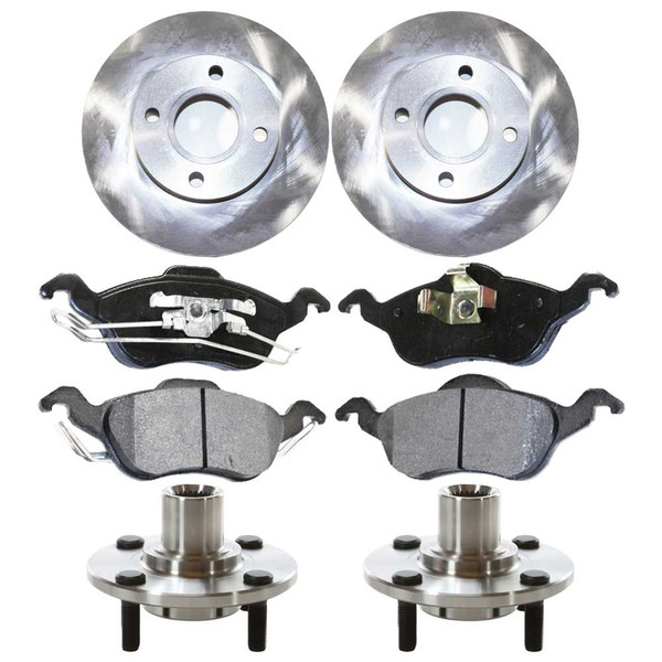[Front Set] 2 Brake Rotors & 1 Set Ceramic Brake Pads & 2 Wheel Hub Bearing Assemblies - Part # RHBBK0433