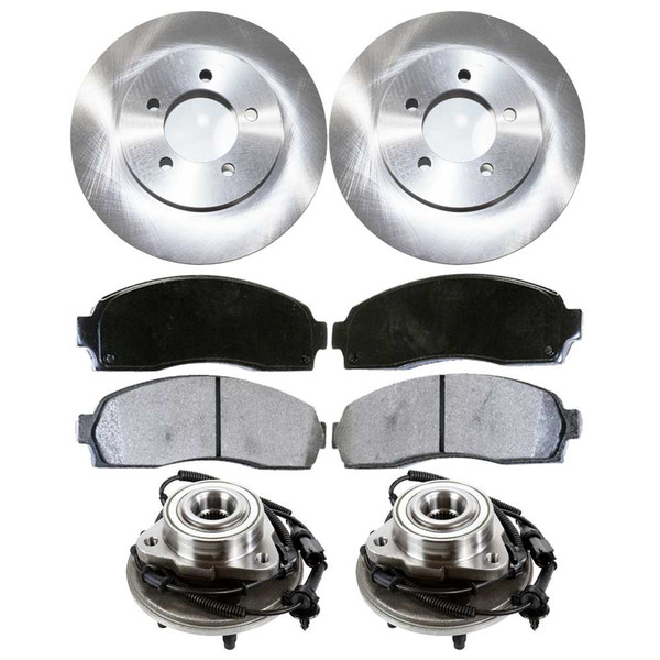[Front Set] 2 Brake Rotors & 1 Set Ceramic Brake Pads & 2 Wheel Hub Bearing Assemblies - Part # RHBBK0436