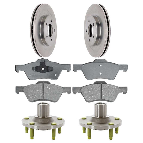 [Front Set] 2 Brake Rotors & 1 Set Ceramic Brake Pads & 2 Wheel Hub Bearing Assemblies - Part # RHBBK0439