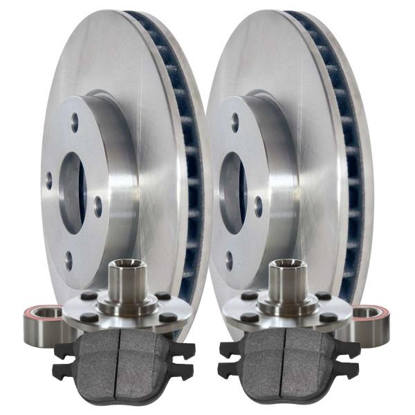 [Front Set] 2 Brake Rotors & 1 Set Ceramic Brake Pads & 2 Wheel Hub Bearing Assemblies - Part # RHBBK0440