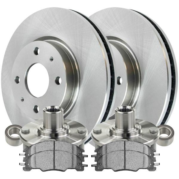 [Front Set] 2 Brake Rotors & 1 Set Ceramic Brake Pads & 2 Wheel Hub Bearing Assemblies - Part # RHBBK0443