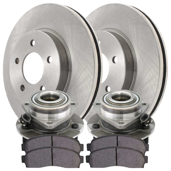 Front Wheel Hub Bearing Assembly Ceramic Brake Pad Rotor Bundle 4 Wheel ABS - Part # RHBBK0478