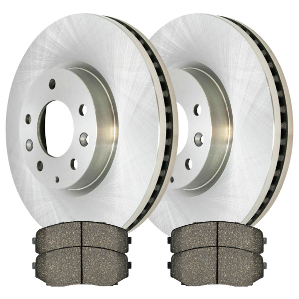 Front Ceramic Brake Pads and Disc Rotors Complete Kit Left & Right Pair - Part # RSCD41462-41462-1258-2-4