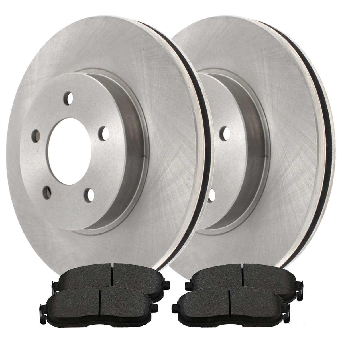 AutoShack RSMK63053-63053-1273-2-4 Front Brake Rotors and Semi Metallic Pads