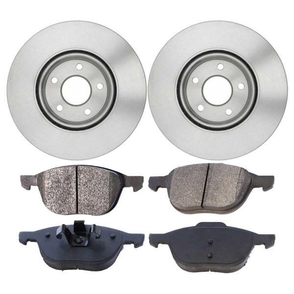 Front Ceramic Brake Pads and Disc Rotors Complete Kit Left & Right Pair - Part # RSCD44366-44366-1044-2-4