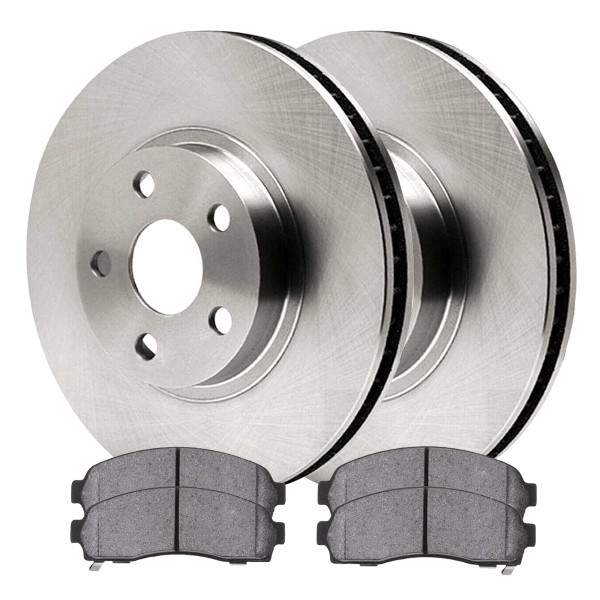 Front Ceramic Brake Pad and Rotor Bundle 2.21 Inch Rotor Height - Part # RSCD64096-64096-833-2-4