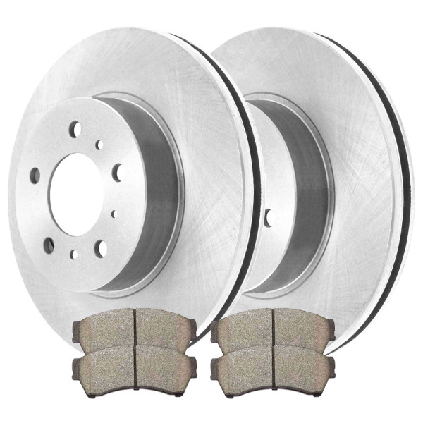 Front Ceramic Brake Pads and Disc Rotors Complete Kit Left & Right Pair - Part # RSCD64144-64144-1192-2-4