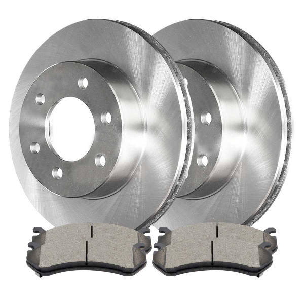 Front Ceramic Brake Pads and Disc Rotors Complete Kit Left & Right Pair - Part # RSCD65056-65056-785-2-4