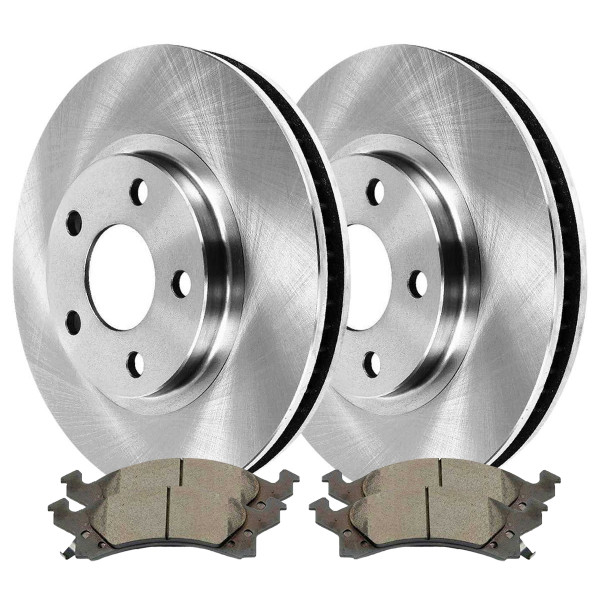 [Front Set] 2 Brake Rotors & 1 Set Ceramic Brake Pads - Part # RSCD6582-6582-673-2-4