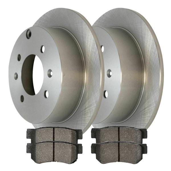 [Rear Set] 2 Brake Rotors & 1 Set Semi Metallic Brake Pads - Part # RSMK41335-41335-813-2-4