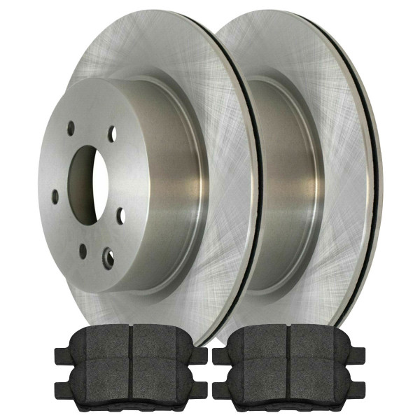 [Rear Set] 2 Brake Rotors & 1 Set Semi Metallic Brake Pads - Part # RSMK41389-41389-905-2-4
