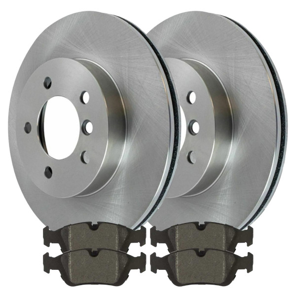 [Front Set] 2 Brake Rotors & 1 Set Semi Metallic Brake Pads - Part # RSMK44175-44175-781-2-4