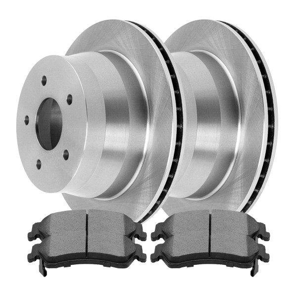 Rear Semi Metallic Brake Pad and Rotor Bundle 4 Wheel Disc 3 3/4 Inch Rotor Height - Part # RSMK65040-65040-729-2-4