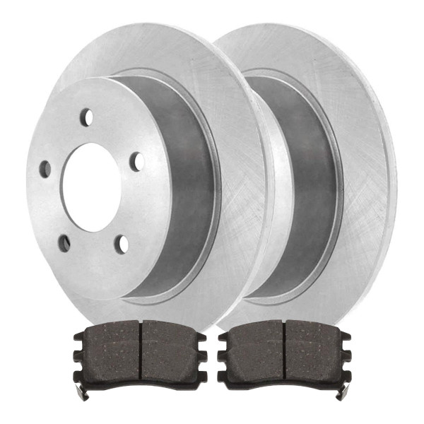 [Rear Set] 2 Brake Rotors & 1 Set Semi Metallic Brake Pads - Part # RSMK65041-65041-698-2-4