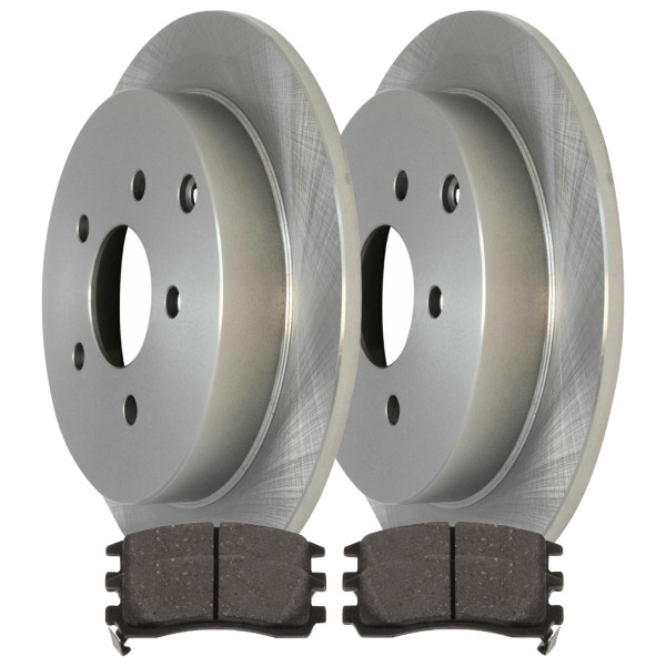 Rear Semi Metallic Brake Pad and Rotor Bundle 4 Wheel Disc - Part # RSMK65080-65080-698-2-4