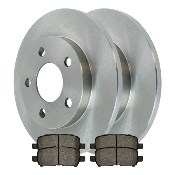 [Rear Set] 2 Brake Rotors & 1 Set Semi Metallic Brake Pads - Part # RSMK65087-65087-999-2-4