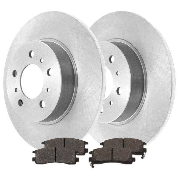 Rear Semi Metallic Brake Pad and Rotor Bundle - Part # RSMK65127-65127-698-2-4