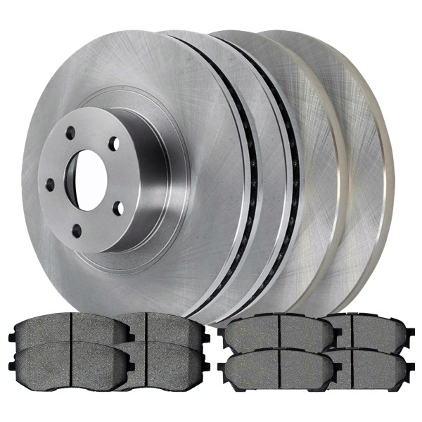 2 Complete Front & Rear Pair 4 Disc Brake Rotors and 8 Ceramic Pads Full Set Kit - Part # SCD10047970