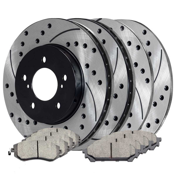 Front and Rear Ceramic Brake Pad and Performance Rotor Bundle - Part # SCD1004PR41061