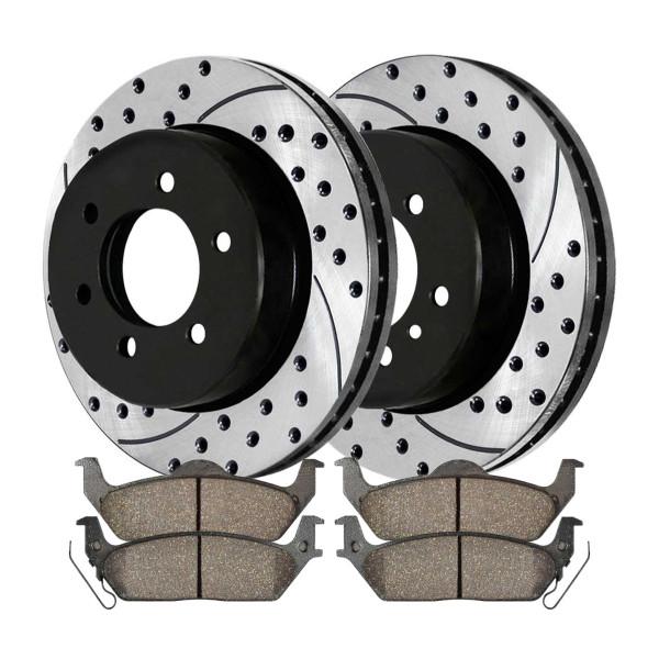 Rear Ceramic Brake Pad and Performance Rotor Bundle 6 Stud - Part # SCD1012-PR64113RL