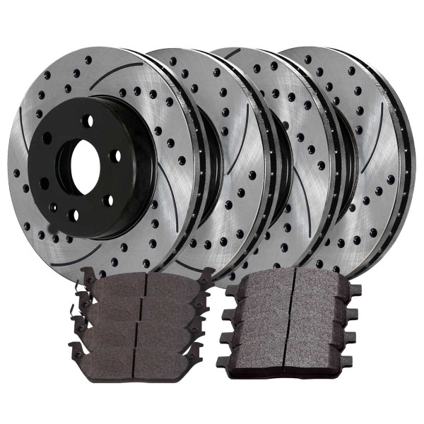 [Front and Rear Set] 4 Performance Brake Rotors and 8 Ceramic Brake Pads - Part # SCD1012PR64111