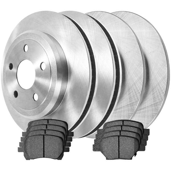 [Front & Rear Set] 4 Brake Rotors & 2 Sets Ceramic Brake Pads - Part # SCD103365095