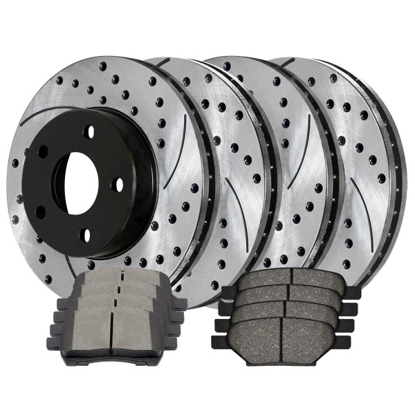 [Front & Rear Set] 4 Drilled & Slotted Performance Brake Rotors & 2 Sets Ceramic Brake Pads - Part # SCD1033PR65095